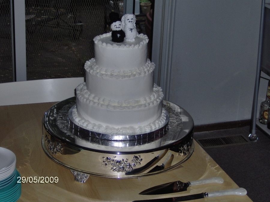 Wedding Cake With Crochet Topper on Cake Central