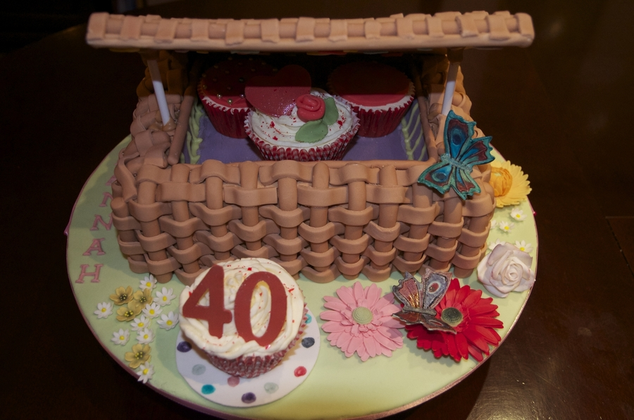 40Th Birthday Picnic Basket on Cake Central