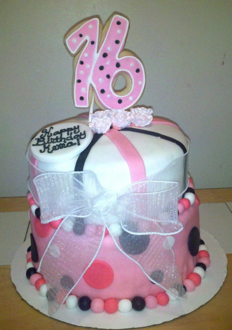 Sweet 16 Pink White Black Polka Dot Cake on Cake Central