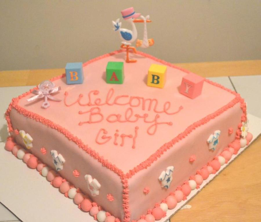 Pink Baby Shower Cake Girl Stork  on Cake Central