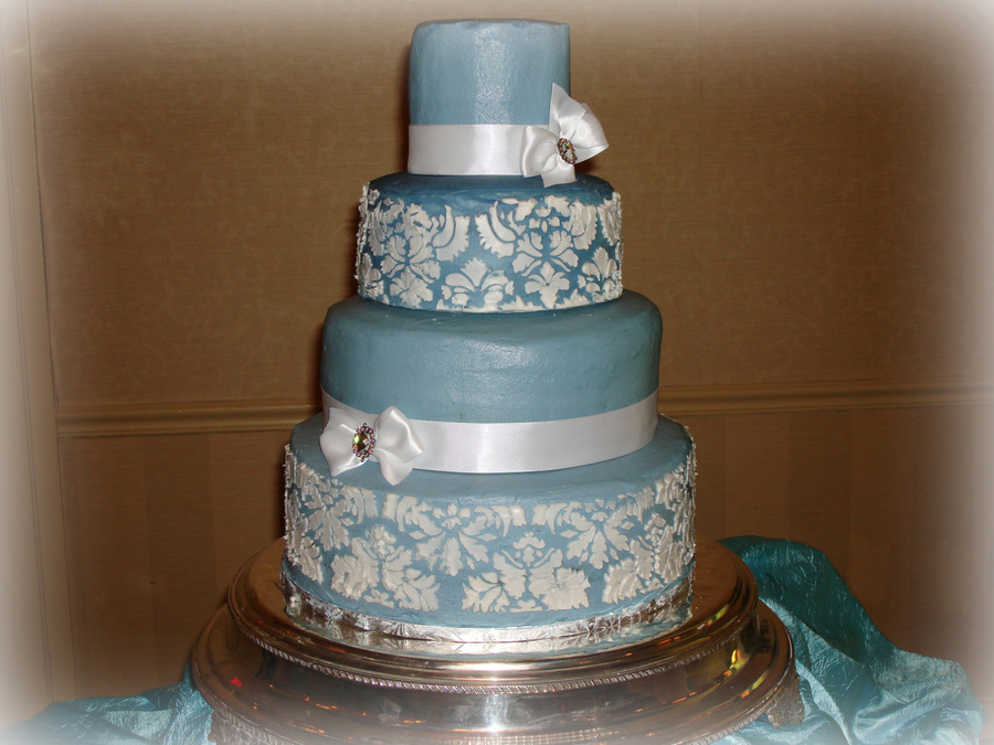Blue And White Damask Cake on Cake Central