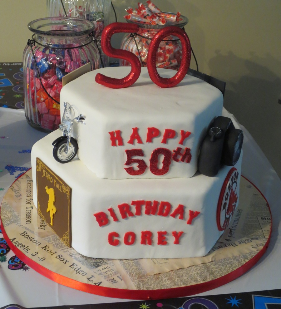 50th Birthday Favorites Cake Made For My Bil Include Jethro Tull His Motorcycle Camera The Red Sox University Of Utah