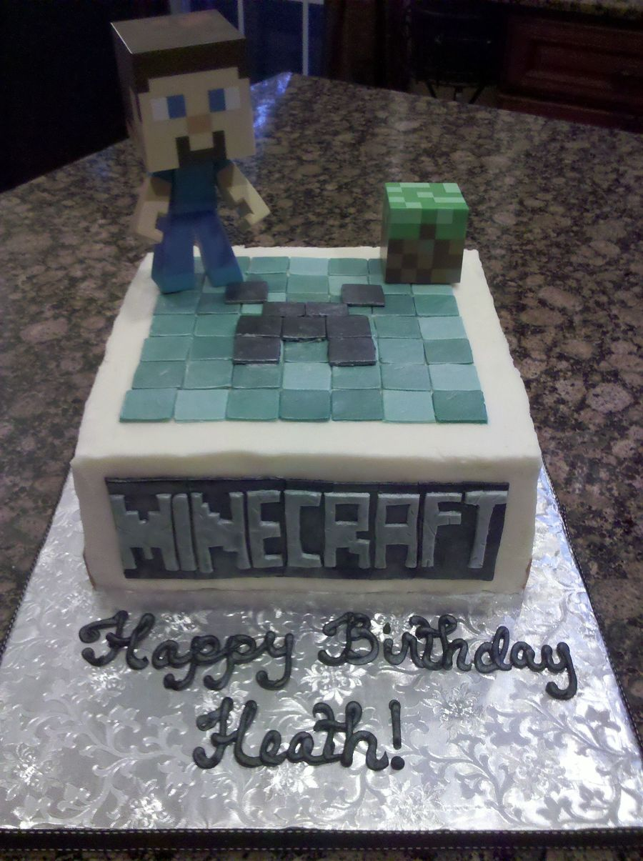 Minecraft Cake White Cake With Vanilla Buttercream Frosting And Fondant Accents The Character And Block Were Provided By The Customer on Cake Central