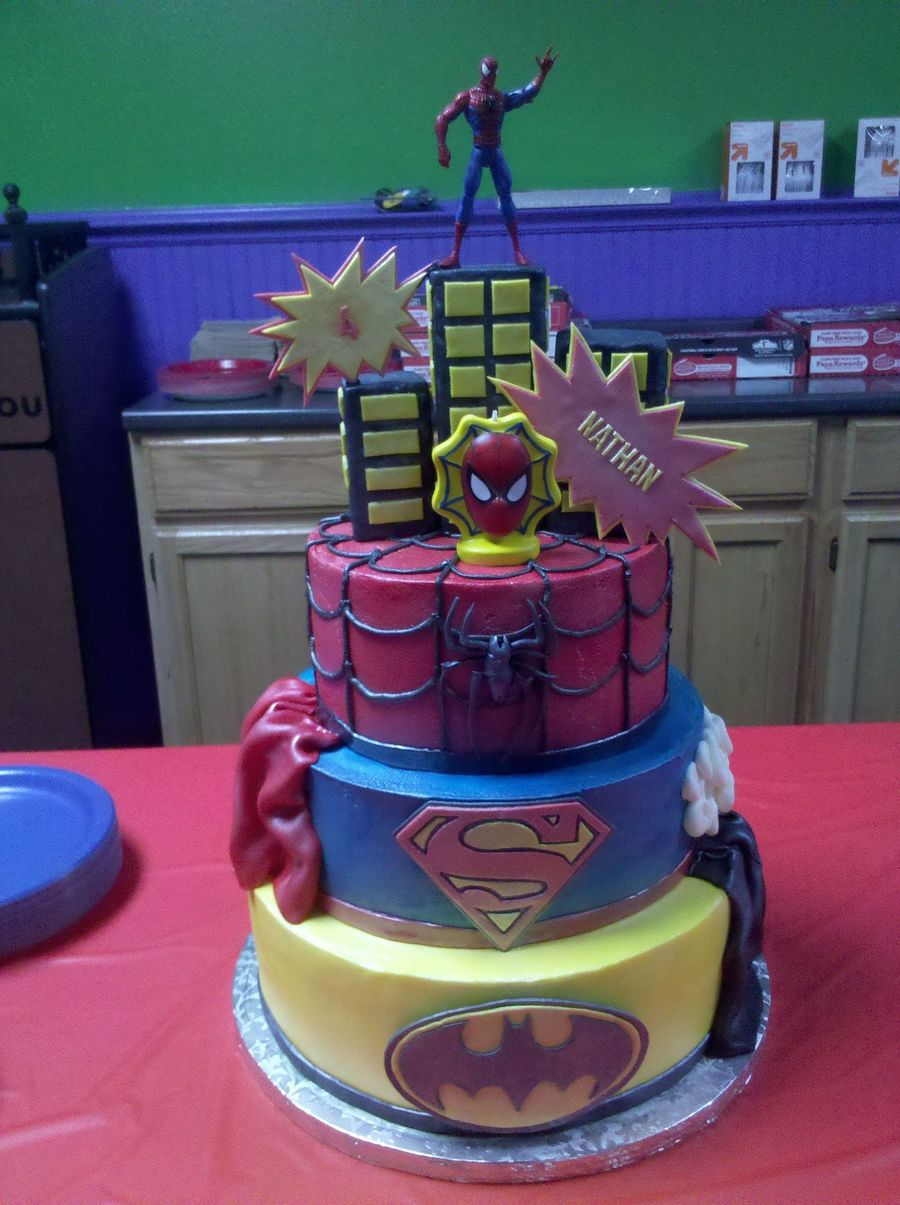 4 Year Old Superheroes Birthday Cake My Take On The Cakes Here Cc Top