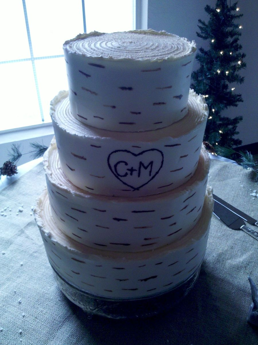 Birch Wedding Cake Alternating Almondapricotvanilla And Whiteraspberryalmond Tiers on Cake Central