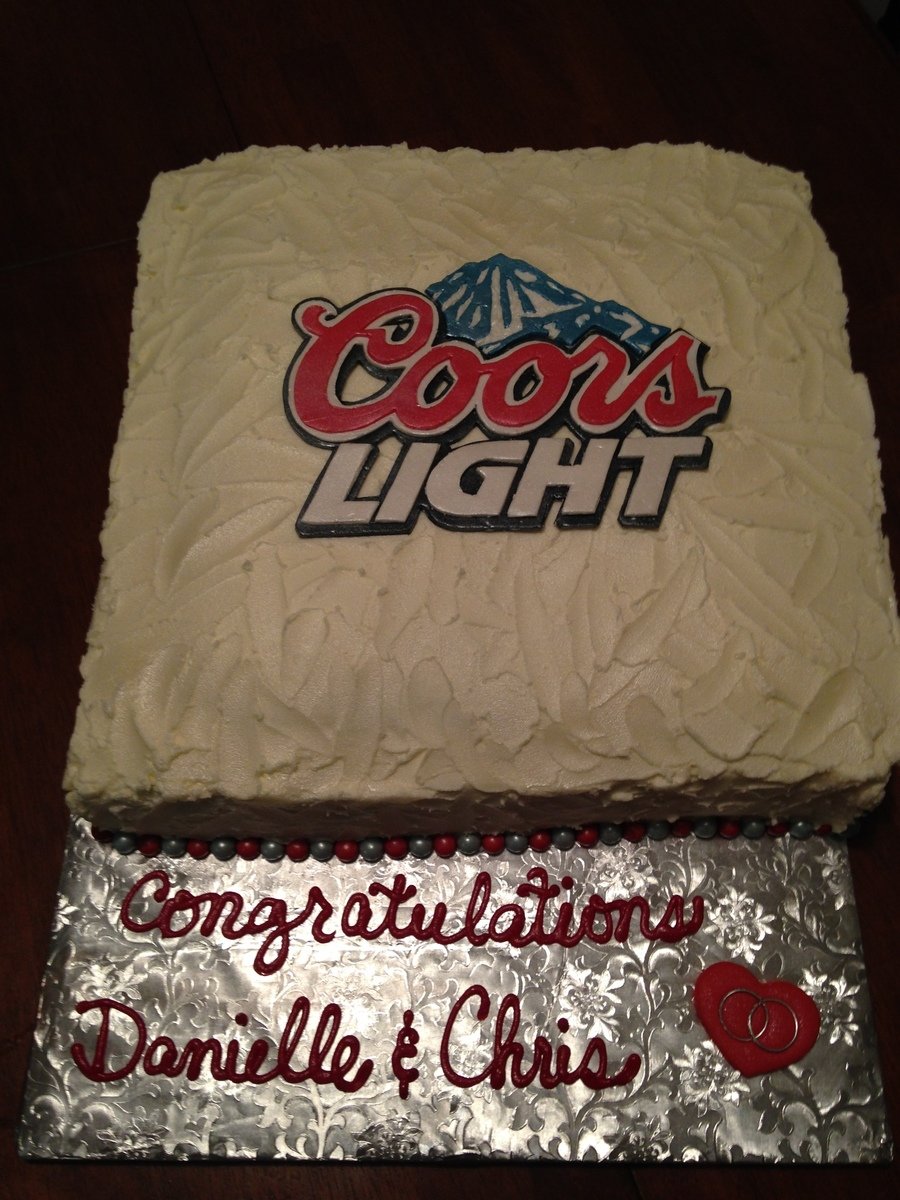 Coors Light Couples Engagement Party Chocolate Cake With A Gumpaste Logo Had Some Severe Issues With Frosting The Square Cake And Had To on Cake Central