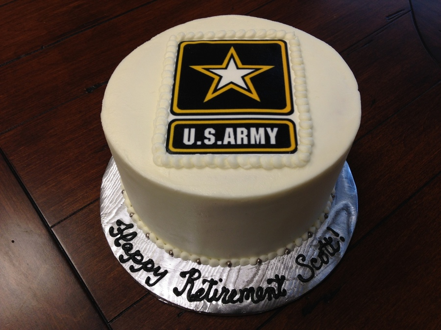 Army Retirement Cake White Cake With Strawberry Filling And Vanilla Buttercream Edible Image For The Top on Cake Central