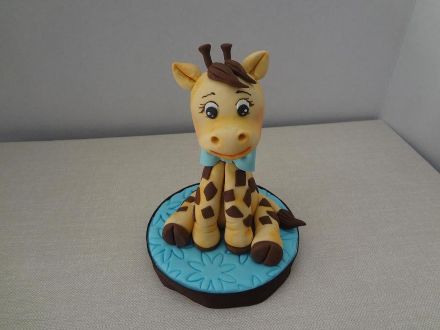 Pink Baby Giraffe Cake Topper