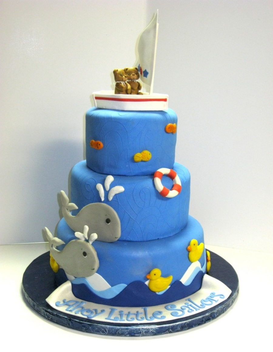 Ahoy Whale Baby Shower Cake