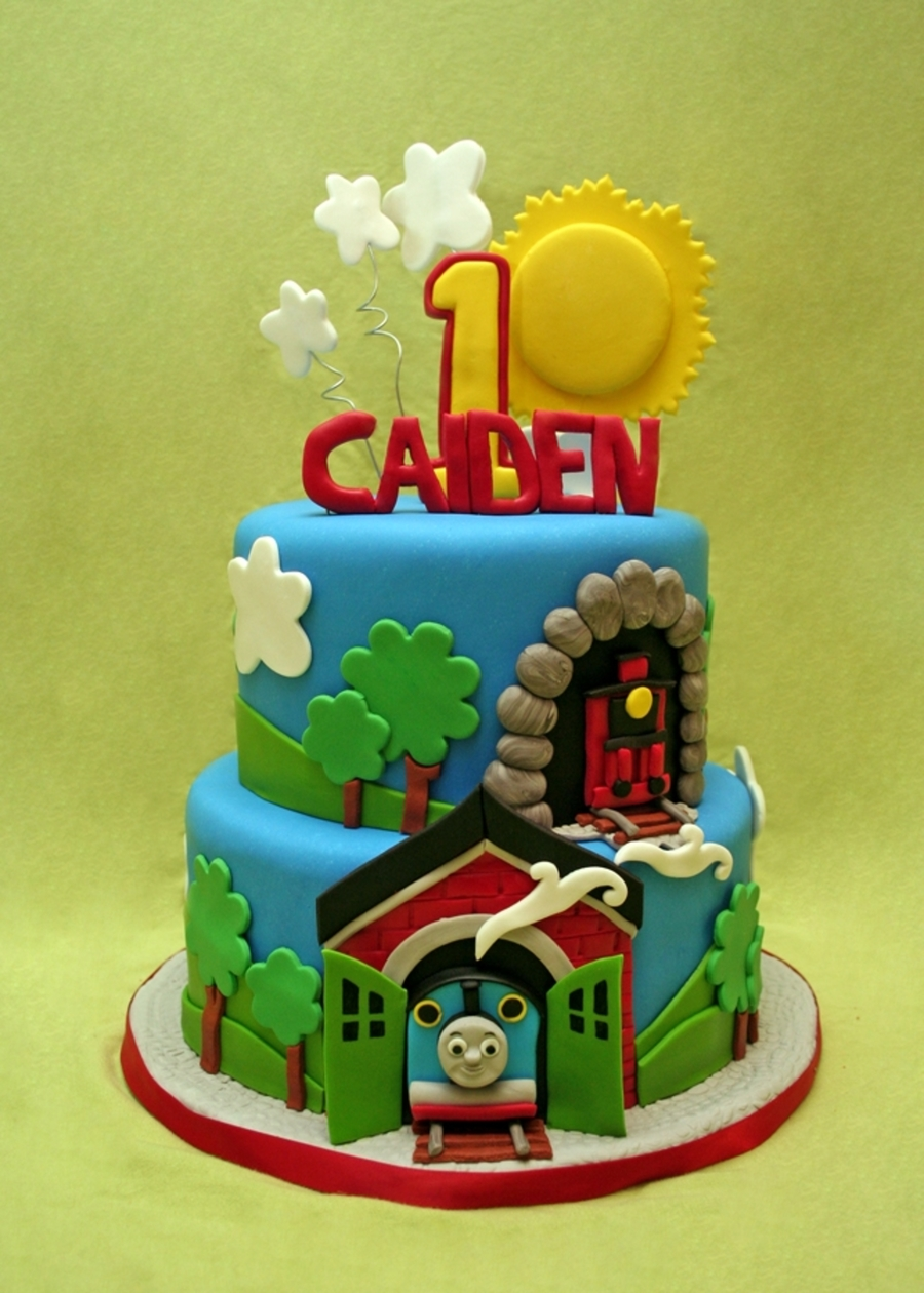 Thomas For Caiden's 1St  on Cake Central