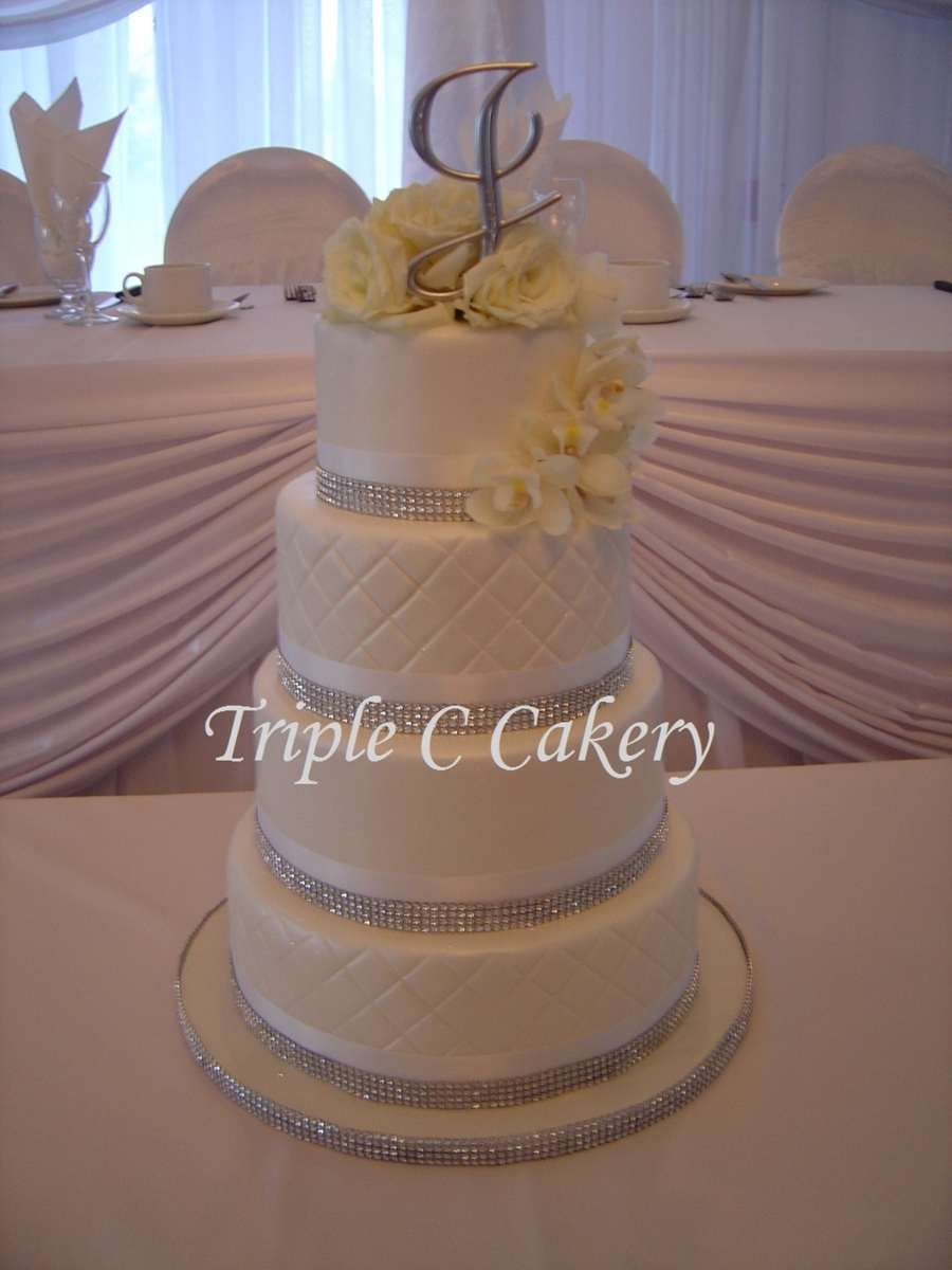 White On White And Blingy! on Cake Central