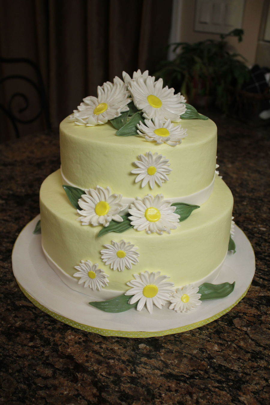 wedding cakes with icing not fondant just wanted a simple not white cake with daisies 26044