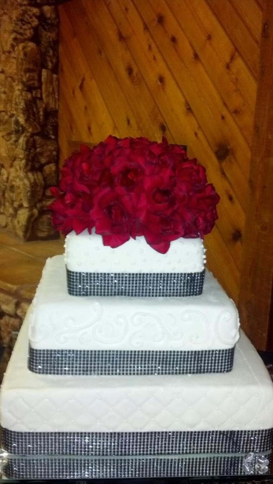 Mmf Bling Ribbon And Silk Flower Topper on Cake Central