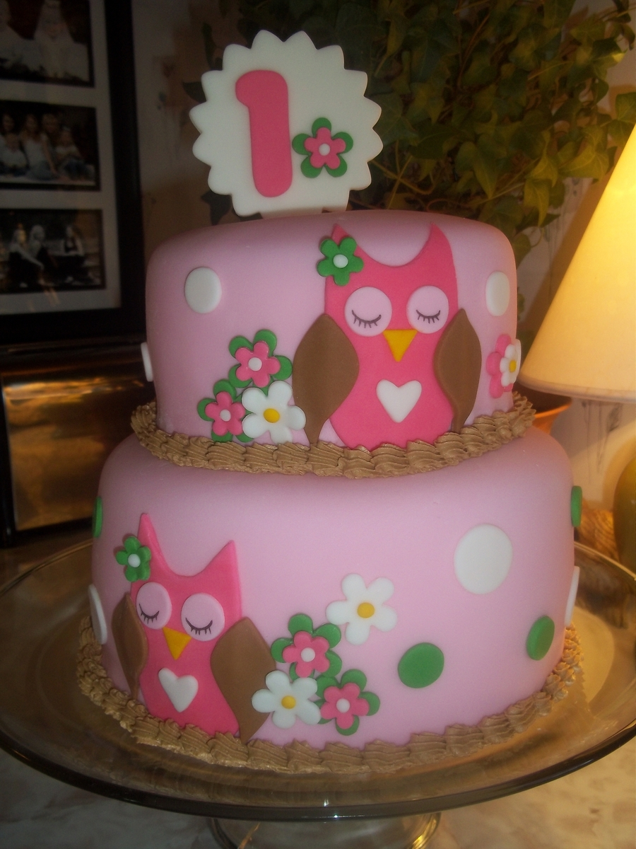 Pink Owl First Birthday Cake CakeCentralcom