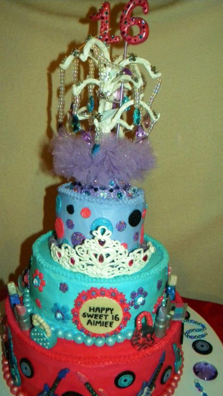 Groovy Sweet 16 Girly Girl 3 Tier Birthday Cake Cakecentral Com Personalised Birthday Cards Xaembasilily Jamesorg
