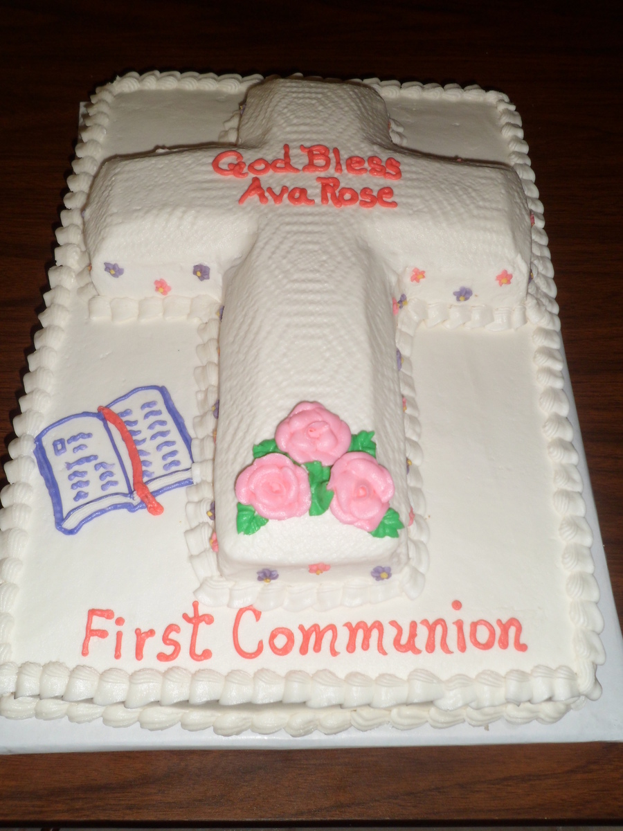 Raised Cross First Communion Cake. on Cake Central