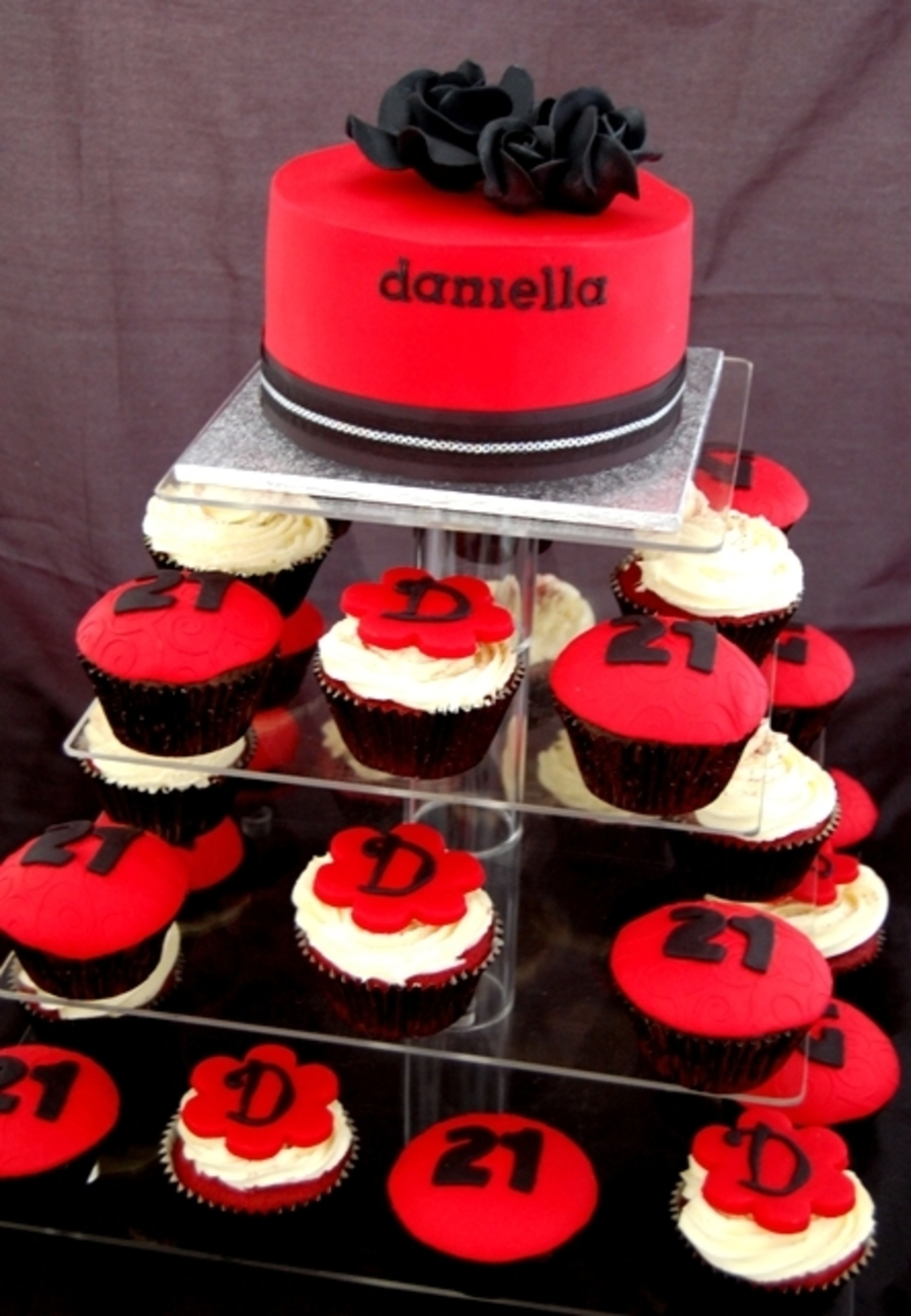 Red Black 21St Cake Cupcake Tower on Cake Central