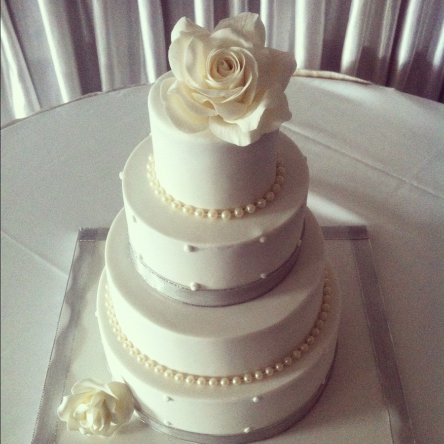 Simple Wedding Cake Silver And White  on Cake Central