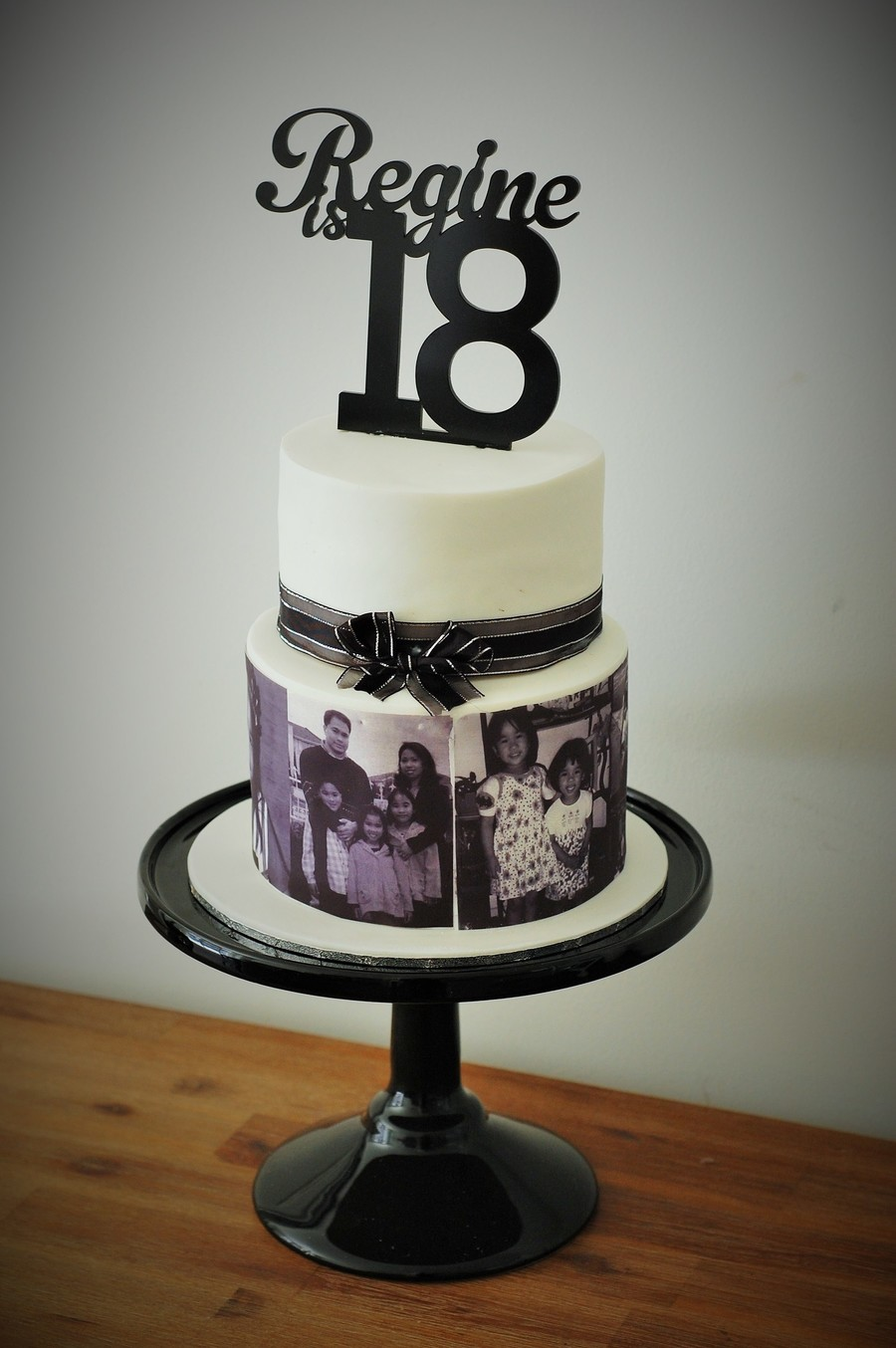 Regines Black And White 18th Birthday Photo Cake Cakecentral