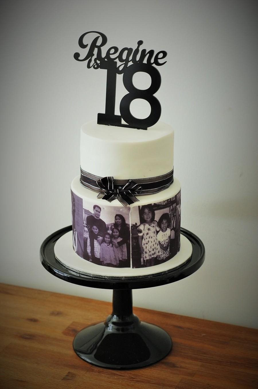 Black And White Th Birthday Cake
