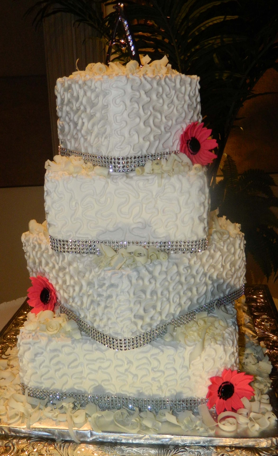 White Chocolate Wedding Cake With Hot Pink Gerber Daisies on Cake Central