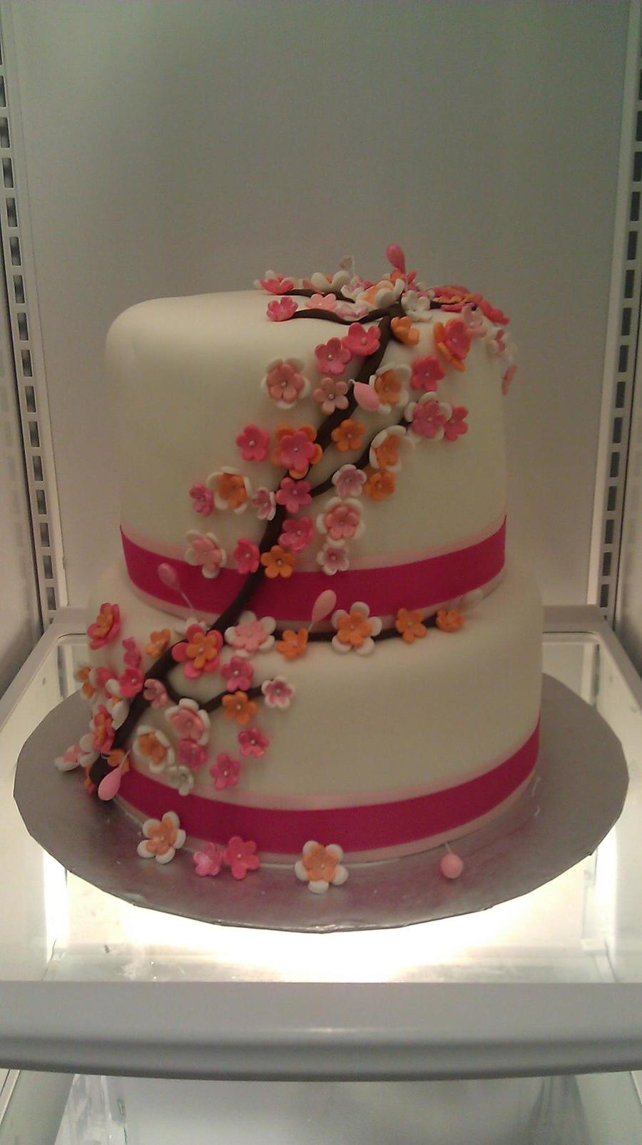 Pink And Orange Cherry Blossom's on Cake Central