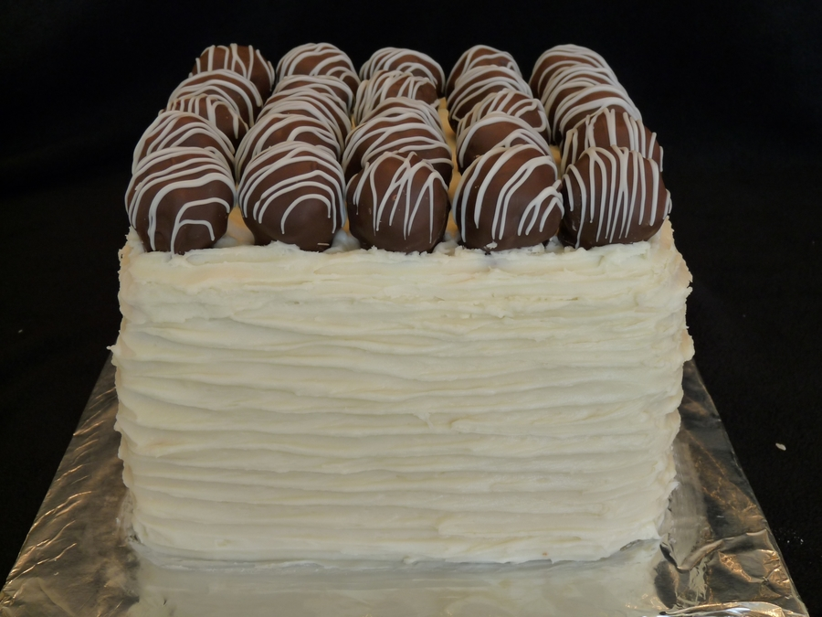 Carrot Cake Topped With Red Velvet Cake Balls on Cake Central