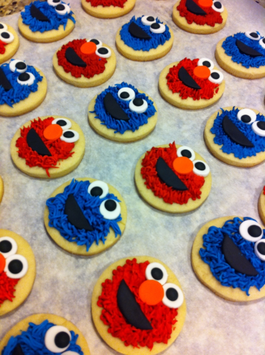 Elmo And Cookie Monster Cookies  on Cake Central
