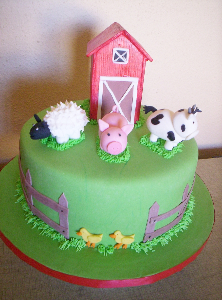 Farm Animal Birthday Cake CakeCentralcom