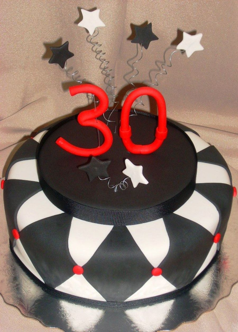 Black White And Red Themed Cake On Central Birthday For Young Man