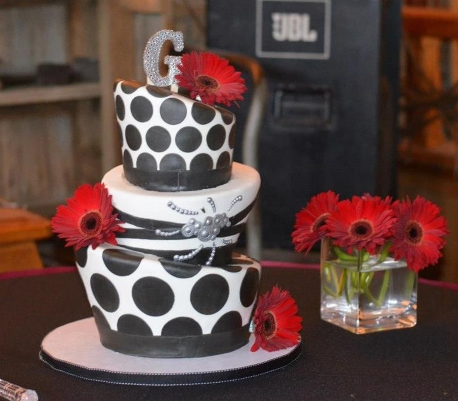 Black And White Topsy Turvy on Cake Central