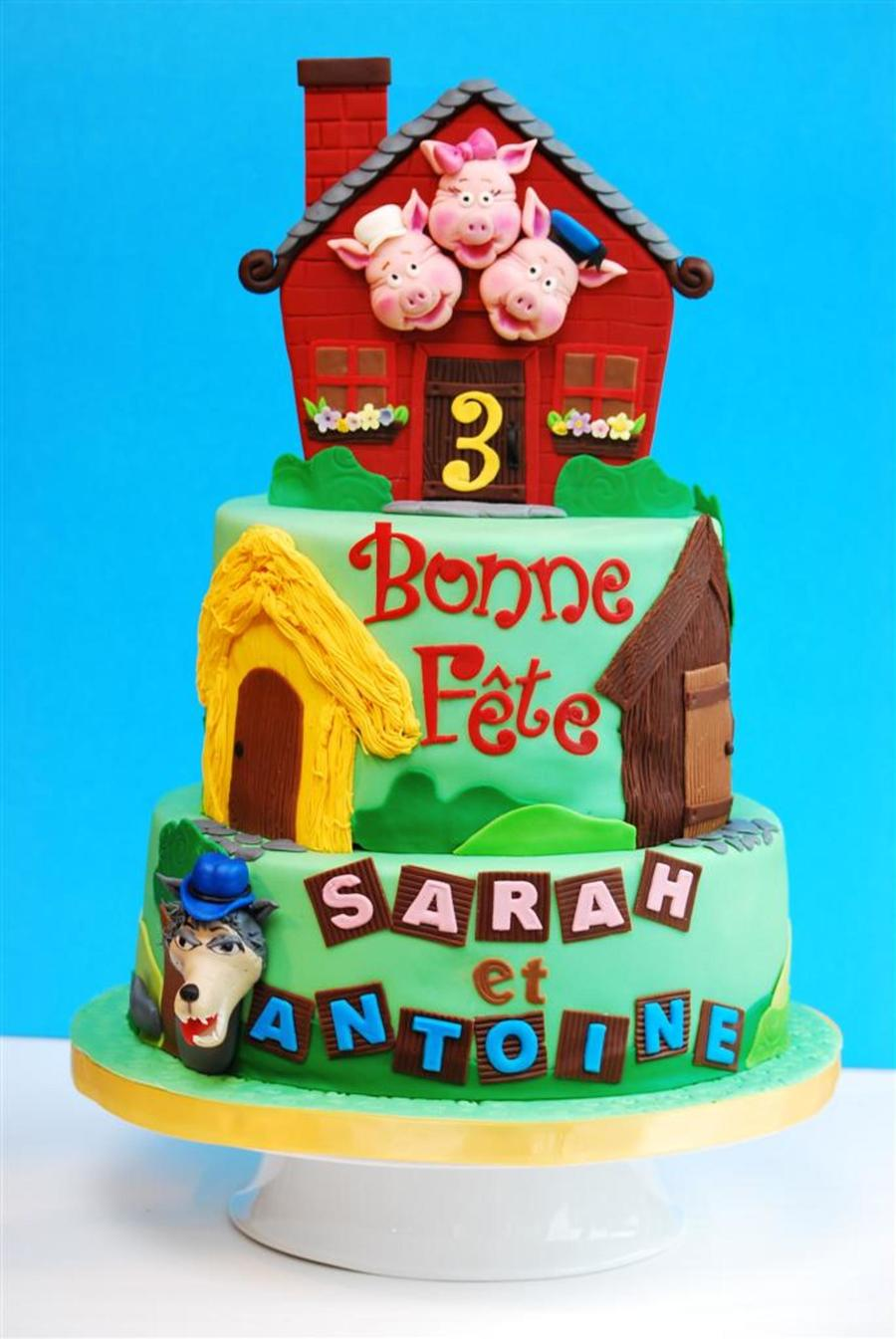 Three Little Pigs Cake For Twins  on Cake Central