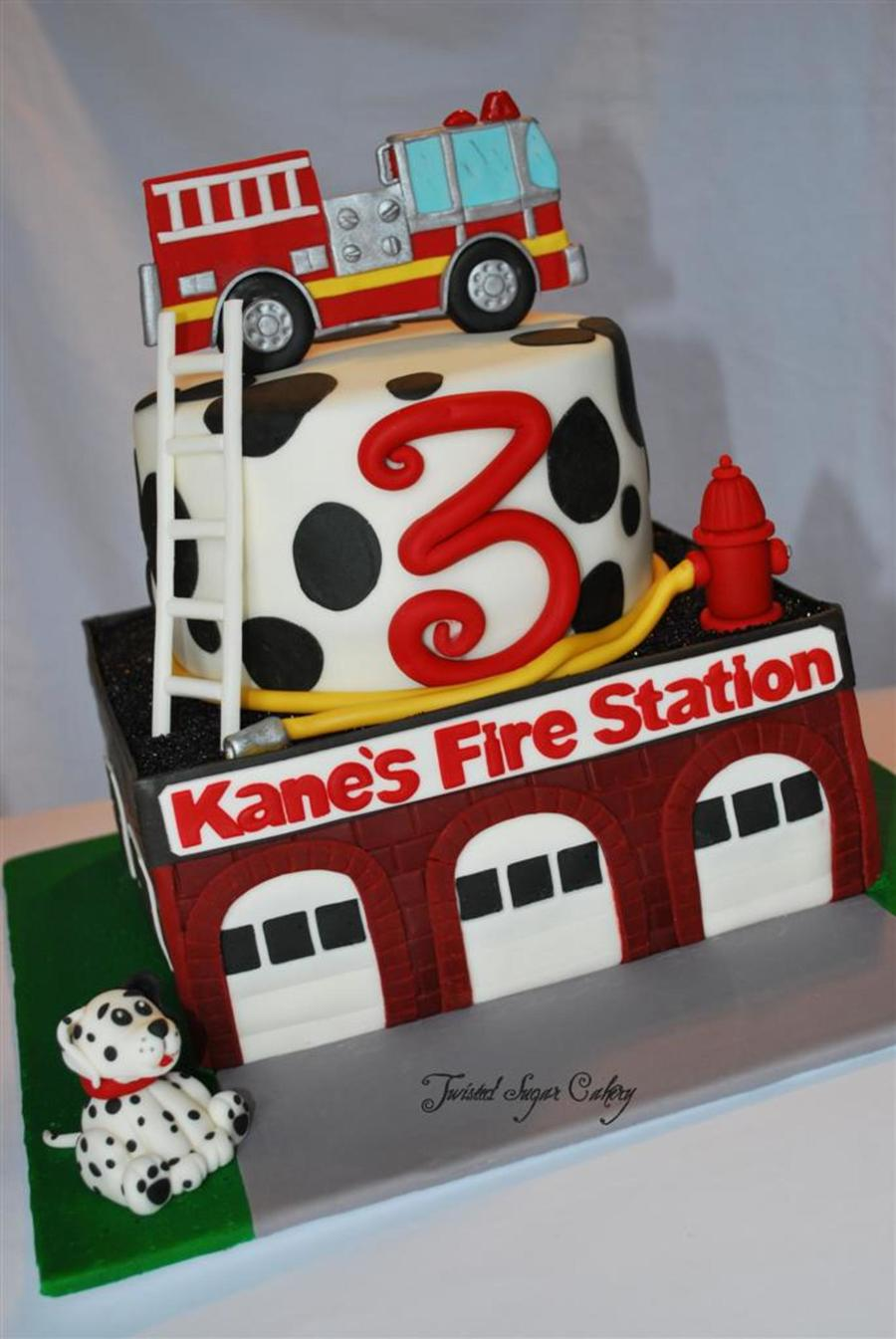 Fire Truck Theme Birthday Cake All Decorations Are Fondant Client Sent Me A Picture From Cake Fiction And Asked Me To Make A Similar on Cake Central