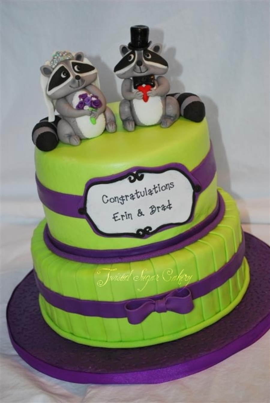 Raccoon Bride And Groom For A Co Ed Bridal Shower Cake on Cake Central