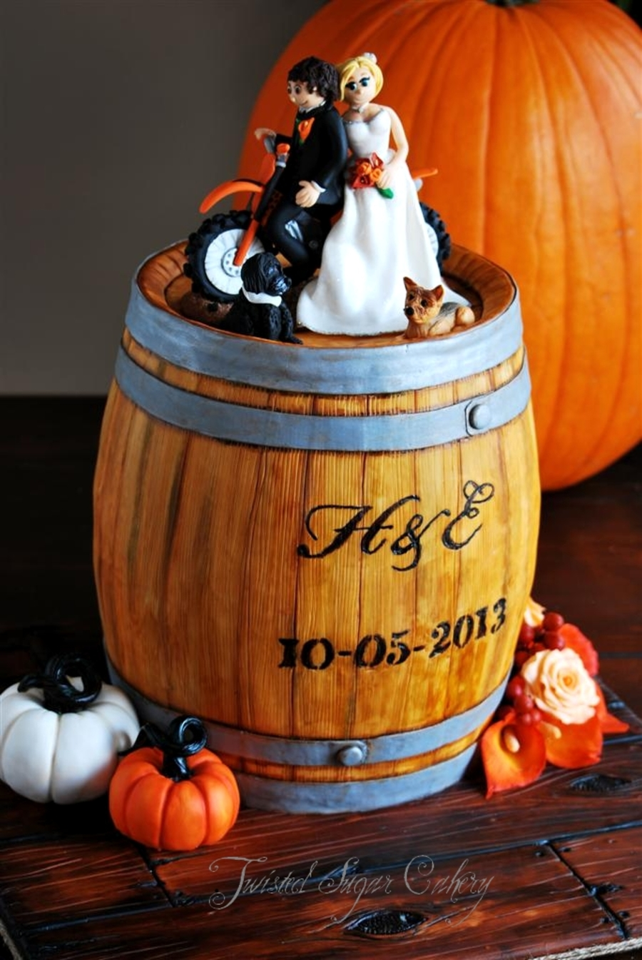 A Truly Personalized Wedding Cake A Rustic Whiskey Barrel With The Bride And Groom On A Dirt Bike With Their Two Dogs The Pumpkins Are on Cake Central