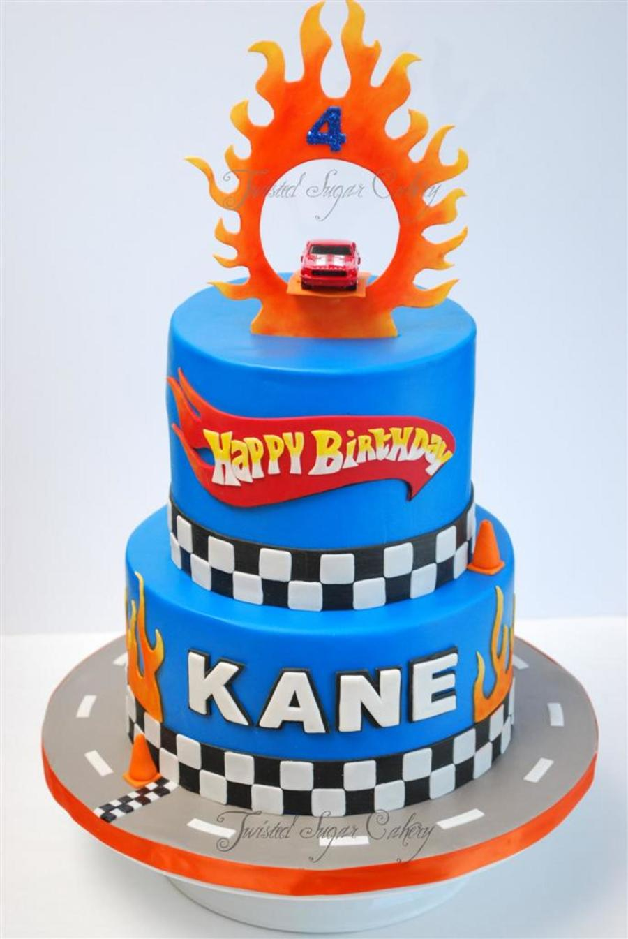 Amazing Hot Wheels Theme Birthday Cake Real Toy Car On Top Cakecentral Com Funny Birthday Cards Online Overcheapnameinfo