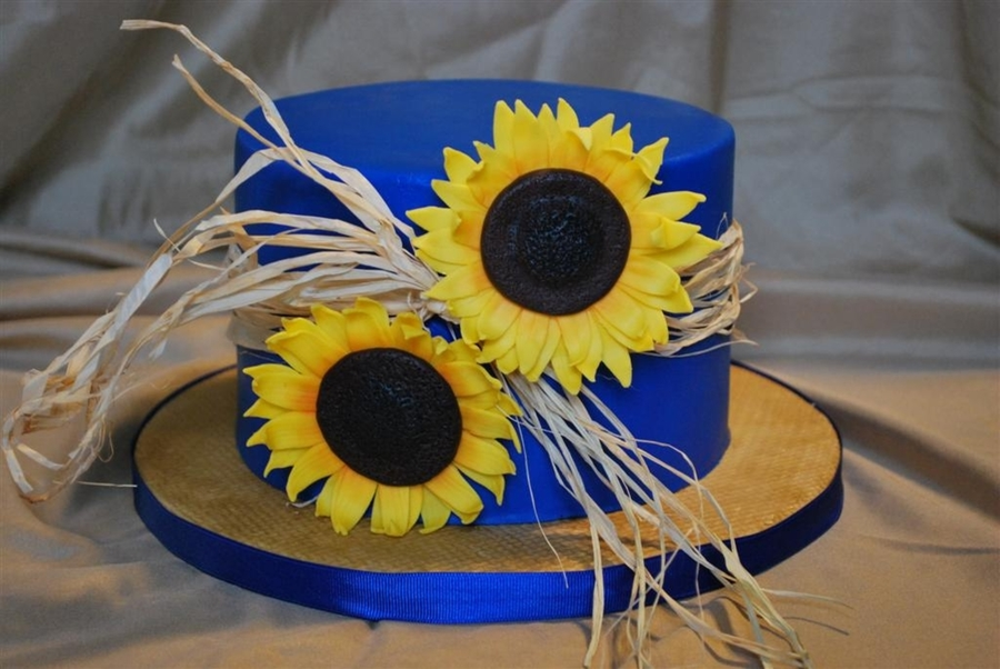 Sunflowers And Cobalt Blue on Cake Central