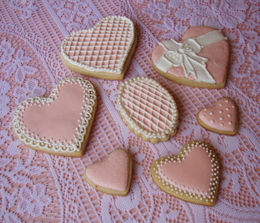 Light Pink Heart Cookies on Cake Central