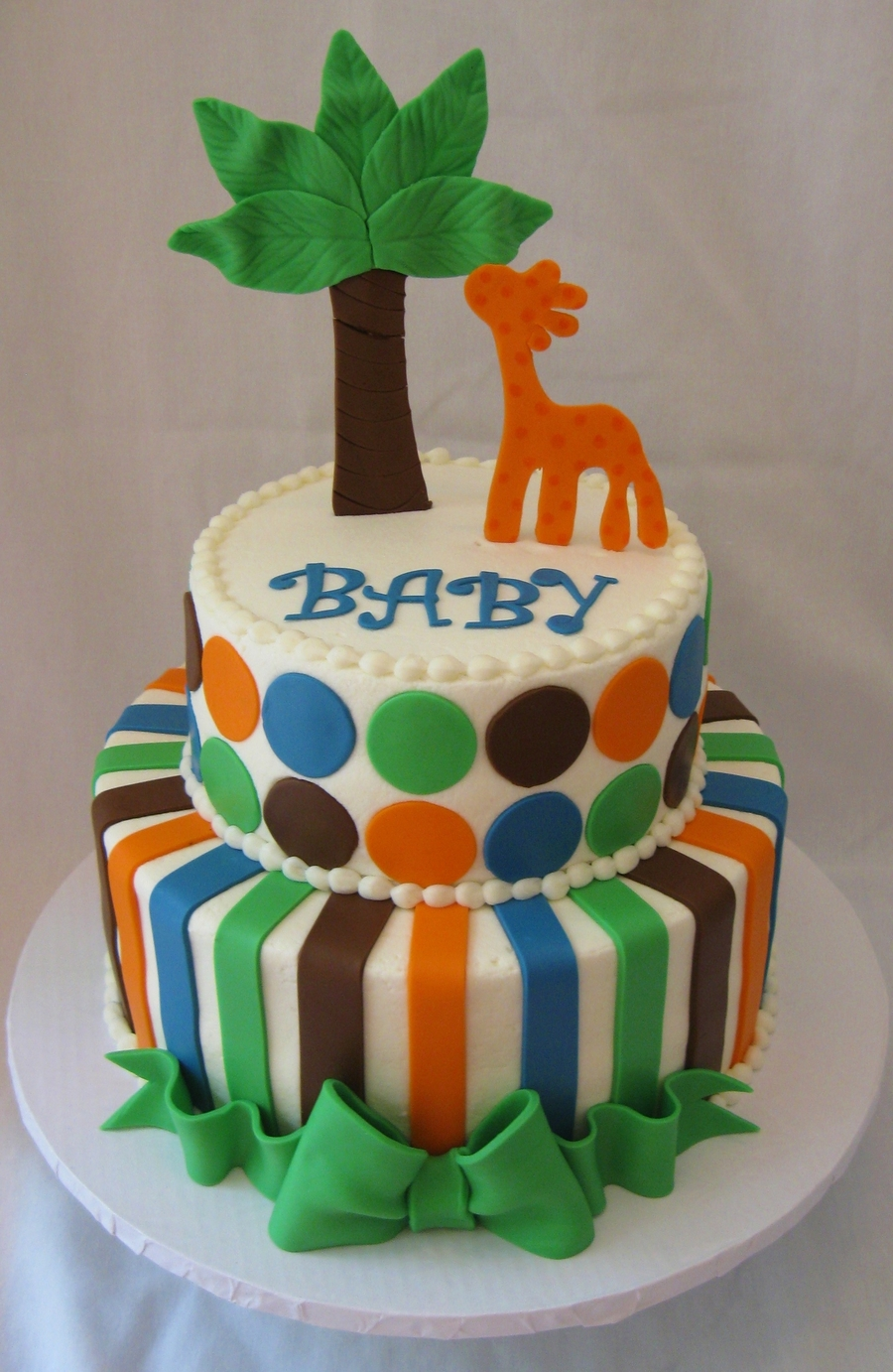 Jungle/polka Dot/stripe Baby Shower Cake on Cake Central