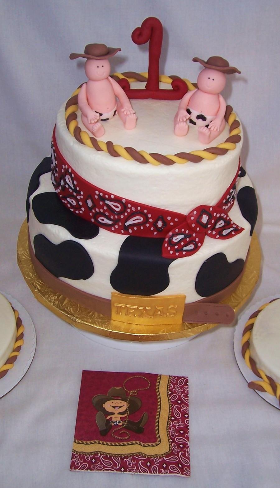 Twin Boy 1st Birthday Cake Cowboy Theme Cakecentral Com