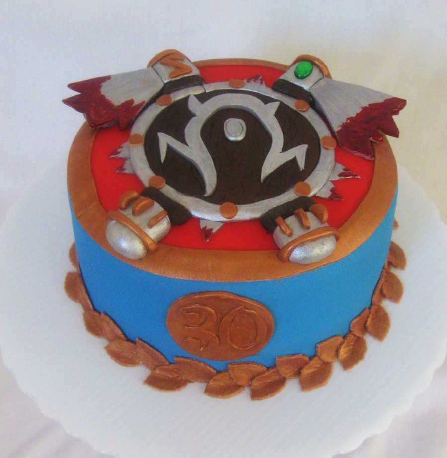 World Of Warcraft Horde Shield Cake  on Cake Central
