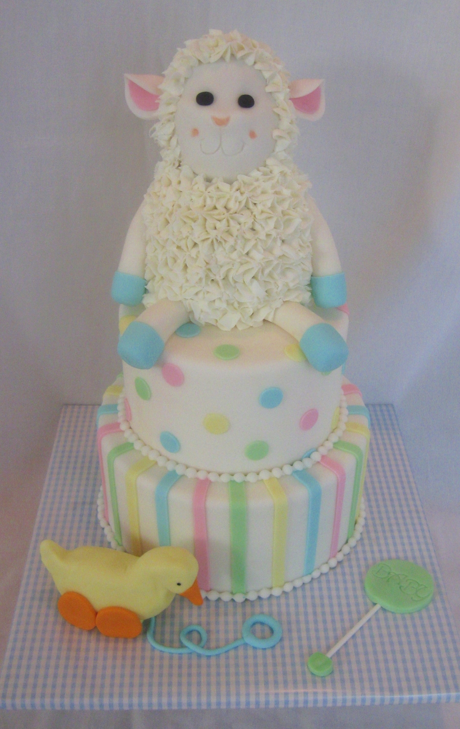 Lamb Baby Shower Cake on Cake Central