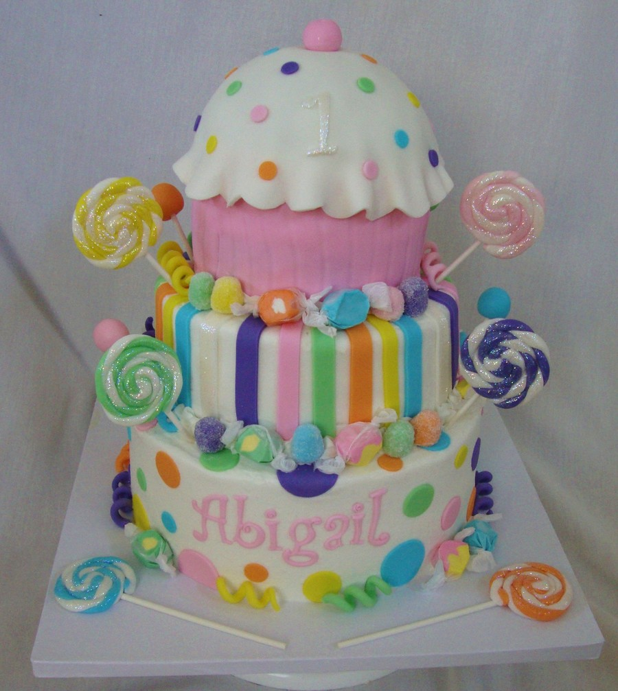 Swell Candy Theme 1St Birthday Cake Cakecentral Com Birthday Cards Printable Opercafe Filternl
