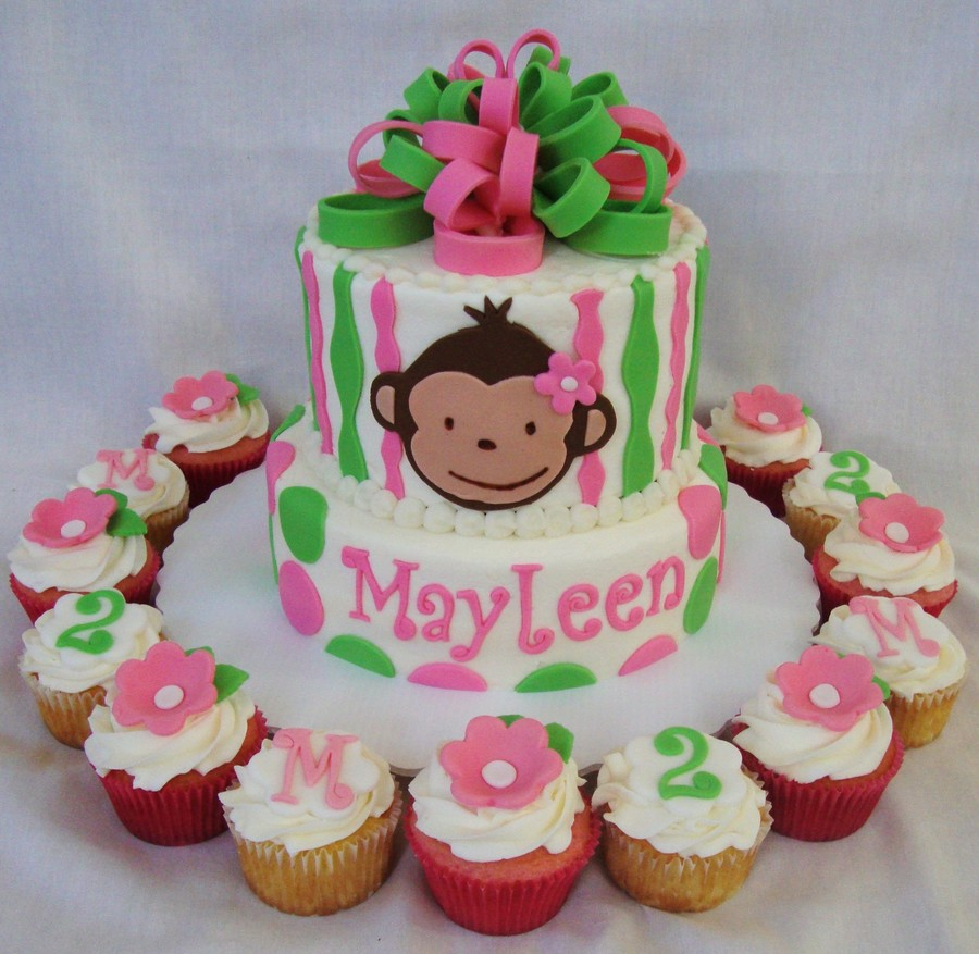 Mod Monkey Pink/green Cake & Cupcakes on Cake Central