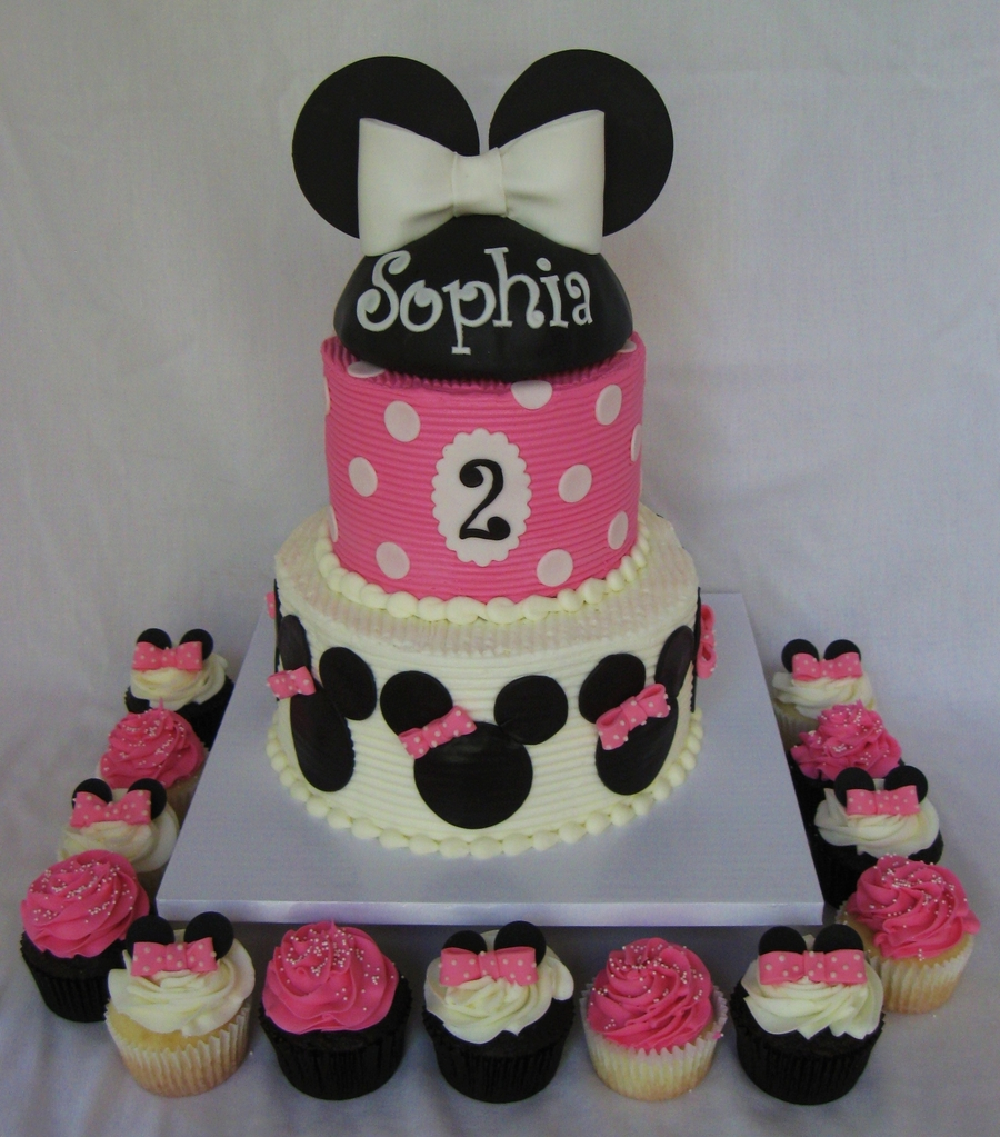 Minnie Mouse Cake And Cupcakes on Cake Central