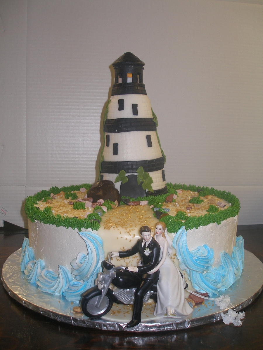 Lighthouse / Motorcycle on Cake Central