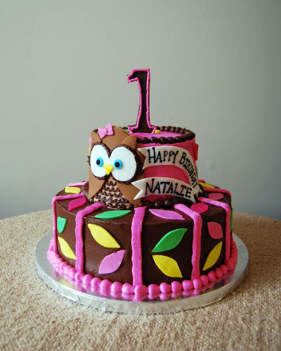 Owl First Birthday Cake on Cake Central