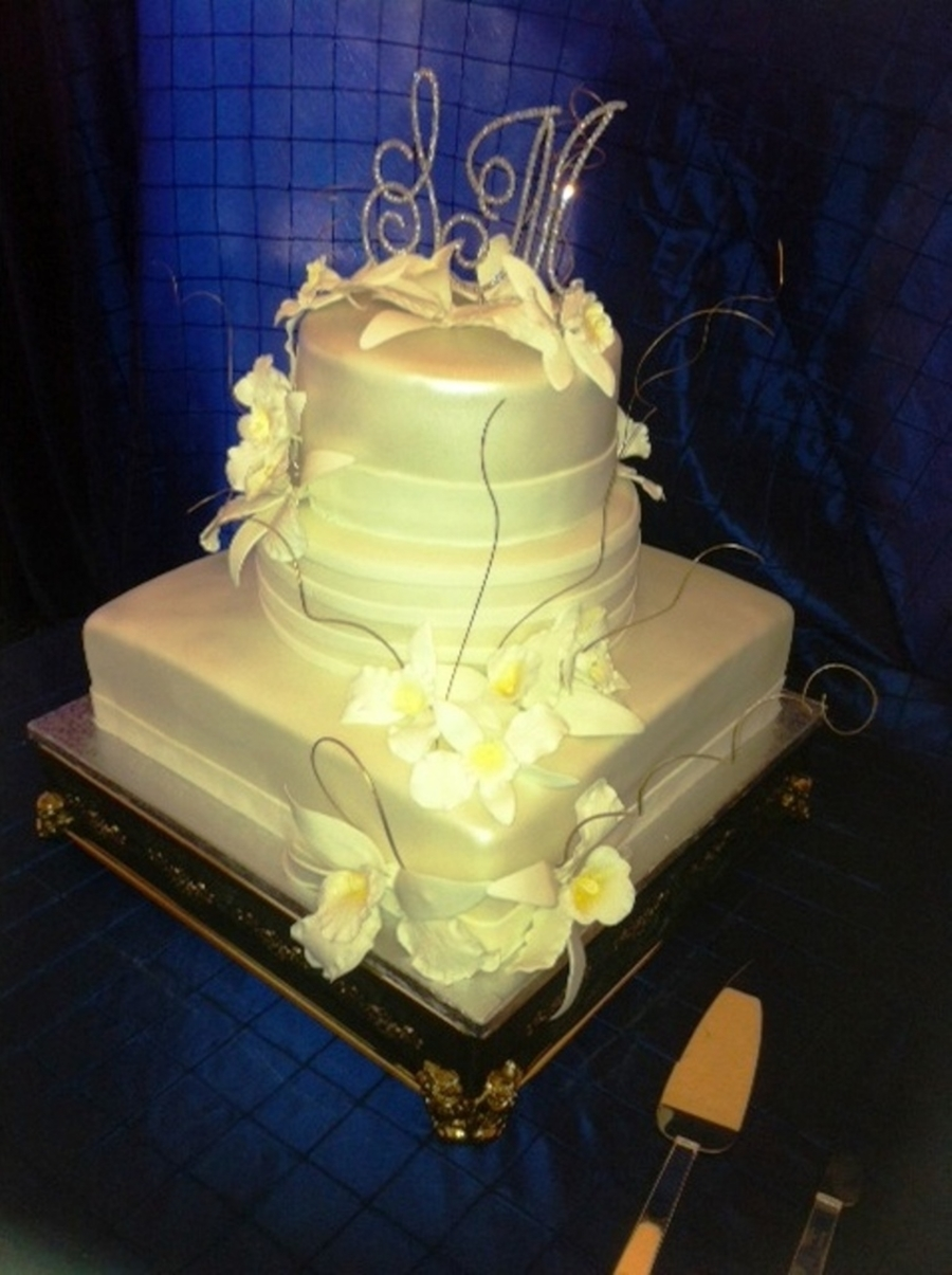 White Orchids Wedding Cake - CakeCentral.com