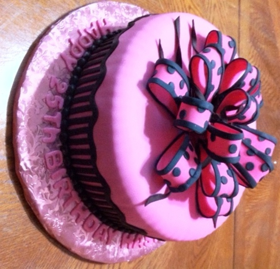 Hot Pink Polka Dots Gift Cake on Cake Central