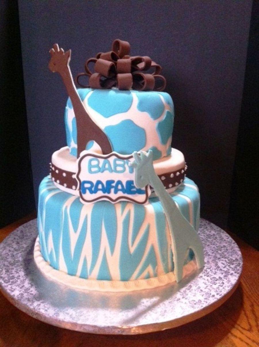 blue giraffe animal print baby shower cake